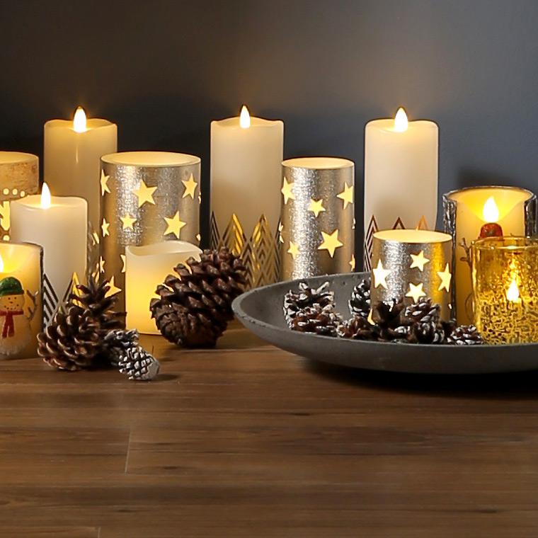 Weihnachtsdeko Led Kerzen.Led Kerze Groß Farbwechsel Glitzer Weihnachtsdeko Kerzenlampe